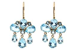 Sale 9221 - Lot 331 - A PAIR OF GIRANDOLE STYLE 9CT GOLD GEMSET EARRINGS; each set with round and pear cut blue topaz, to further pear cut blue topaz frin...