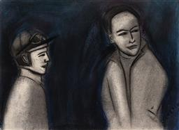 Sale 9244 - Lot 513 - ROBERT DICKERSON (1924 - 2015) Jockey & Trainer pastel and charcoal on paper 28 x 38 cm (frame: 47 x 57 x 5 cm) signed lower right
