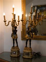 Sale 7984 - Lot 17 - A pair of table based Blackamoor lamps, H 105 cm