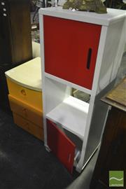 Sale 8227 - Lot 1086 - Slim Modern Cabinet & Retro Bedside with 3 Drawers (2)