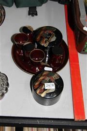 Sale 8261 - Lot 97 - Oriental Lacquered Drink Suite with Similar Coasters