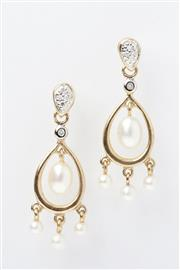 Sale 8293 - Lot 329 - A PAIR OF PEARL AND DIAMOND STUD EARRINGS; each set with 5 single cut diamonds and articulating cultured pearls in 9ct gold.