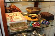 Sale 8379 - Lot 132 - Inlaid Timber Jewellery Box with Other Wares incl Metal Masks