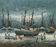 Sale 8484 - Lot 592 - Artist Unknown (XX) - Fishing Port 98 x 118cm