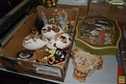 Sale 8530 - Lot 2376 - Box of Assorted Items incl Miniature Limoges & Ceramic Easter Egg Trinket Boxes