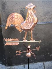 Sale 8769A - Lot 49 - Pressed Copper Rooster-Form Weather Vane (140cm) with wall mount bracket