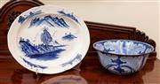 Sale 8882H - Lot 8 - A Chinese cabbage leaf bowl together with a Japanese landscape platter, Length of platter 47cm