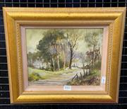 Sale 8998 - Lot 2002 - Malcolm Peryman The Country Road oil on board 32 x 37cm (frame) signed -