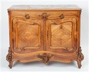 Sale 9044J - Lot 29 - An antique French rouge marble top walnut buffet C: 1880. The freize fitted with a Roccoco carved apron drawer with substantial gilt...