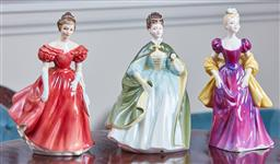 Sale 9103M - Lot 509 - A group of three Royal Doulton figures including Loretta HN2337, Winsome HN2220, and Premiere HN2343
