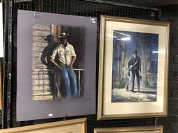 Sale 9172 - Lot 2038 - Lee Miller (2 works, one unframed), old cattle ranchers, pastels, 84 x 64 (unframed 76 x 56 cm) signed lower right and left. -