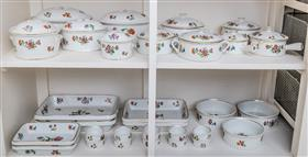 Sale 9195H - Lot 55 - An extensive French ovenproof dinner service including tureens, trays and ramekins in floral and gilt design, Limoges.