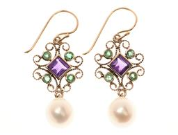 Sale 9213 - Lot 350 - A PAIR OF SUFFRAGETTE THEMED GEMSTONE EARRINGS; scroll mounts set with carre cut amethysts, round cut emeralds and cultured freshwat...