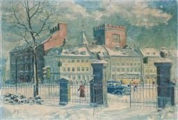 Sale 9237A - Lot 5043 - SIGVARD HAGSTED (1921-1997) (DANISH) Soldiers Home, Copenhagen, 1950 oil on canvas (AF) 62 x 88 cm (frame: 66 x 92 cm) signed lower...