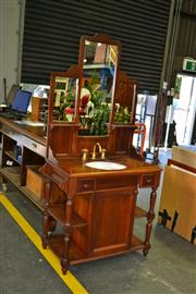 Sale 7987A - Lot 1203 - Pine Mirrored Back Washstand Fitted With Taps And Sink
