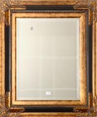 Sale 8171A - Lot 79 - A rectangular bevelled mirror in a black and gilt frame, H 70, W 66cm