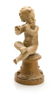 Sale 8202A - Lot 83 - An antique carved timber figure of a cherub, H 26cm