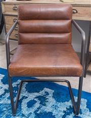 Sale 8530A - Lot 257 - A mid century style quality brown leather arm chair with metal frame, W 55 x D 59 x H 82cm