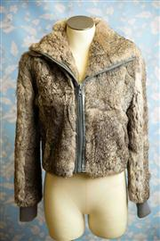 Sale 8577 - Lot 104 - A vintage Madame Marie by HUSSY rabbit fur bomber jacket with blue lining, size M, Condition: very good some minor fur loss on rig...