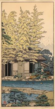 Sale 8606 - Lot 595 - Toshi Yoshida (1911 - 1995) - Cottage by The Pond 49 x 25cm