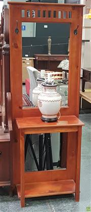 Sale 8637 - Lot 1046 - Timber Mirrored Back Hall Stand