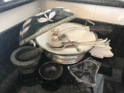 Sale 8677B - Lot 691 - A group of serving and other kitchen items including EP and ceramic two handled bowl, ladles, cake slices, mortar and pestle