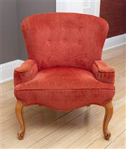 Sale 8741A - Lot 27 - A French button back russet upholstered single elbow chair on short cabriole legs, Height of back 80cm, total width 76cm