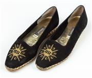 Sale 9027F - Lot 23 - A Pair of Bally Starry Espardrilles with Black & Gold logo  size 38.5