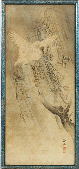 Sale 9098 - Lot 225 - Crane on willow tree themed Chinese framed work (39cm x 18cm)
