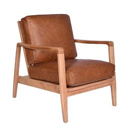 Sale 9140F - Lot 190 - A lounge style chair made from the highest quality Columbia brown top grain leather with a solid timber frame and buckle detailing o...