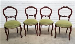 Sale 9151 - Lot 1250 - Victorian mahogany set of 4 carved balloon back dining chairs (H:91 W:45 D:42cm)