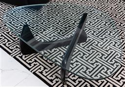 Sale 9162H - Lot 40 - A Noguchi style black ash coffee table with glass top, Height 40cm x Width 126cm x Depth 90cm