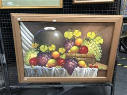 Sale 9176 - Lot 2135 - Artist Unknown, Still Life with fruits and vase (2001), oil on canvas, 73 x 103 cm, signed and dated lower left. -