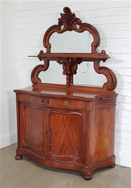 Sale 9196 - Lot 1008 - 19th Century Probably Dutch Mahogany Chiffonier or Sideboard, the carved back with a shelf dividing two mirrors, with two drawers be...