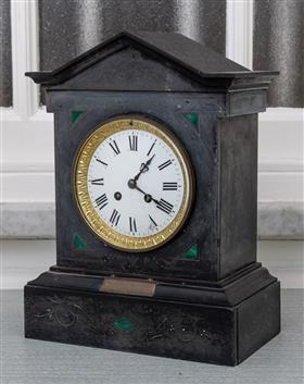 Sale 9195H - Lot 2 - A Belgian slate mantle clock of classical form, the enamel dial with Roman numerals, Height 34.5cm