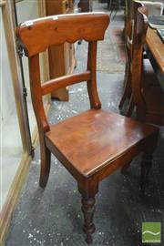 Sale 8317 - Lot 1062 - Unusual Set of Six C19th Satinwood Chairs with timber seats & turned legs