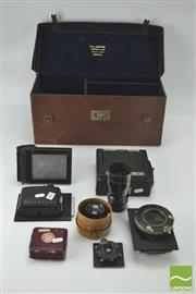 Sale 8370 - Lot 1899 - Antique 22 Graflex Camera With Lenses Including A Carl Zeiss Jena Nr
