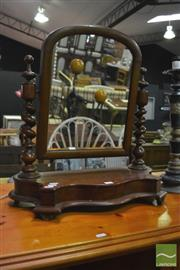 Sale 8398 - Lot 1050 - Carved Timber Toilet Mirror with Barley Twist Supports & Serpentine Front