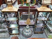 Sale 8444 - Lot 1091 - Pair of Black & Gold Chinoiserie Style Wall Shelves, of pagoda form, with three shelves & a drawer (94cm height x 33cm width x 16cm...
