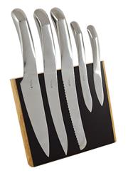 Sale 8657X - Lot 84 - Laguiole Louis Thiers Organique 5-Piece Kitchen Knife Set with Timber Magnetic Block