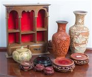 Sale 8515A - Lot 38 - A group of Oriental wares including vases and stands, and a Franklin Mint miniature display cabinet