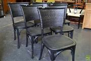 Sale 8550 - Lot 1493 - Set of Six Black Oak Dining Chairs with Rattan Back & Seat