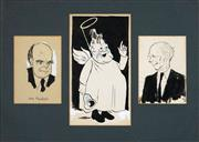 Sale 8565 - Lot 585 - Victor (VICKY) Weisz (1913 - 1966) (3 works) - UK Politicians 21.5 x 15cm; 35 x 19.5cm; 21 x 15cm