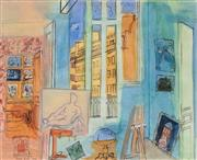 Sale 8682 - Lot 2023 - After Raoul Dufy (1877 - 1955) Studio Interior, 1935, watercolour, 17 x 21cm, signed and dated lower left -
