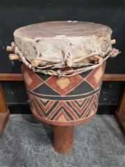 Sale 8777 - Lot 1013 - Hand Painted Tribal Drum