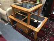 Sale 8851 - Lot 1093 - Timber and Glass Coffee Tables (2)