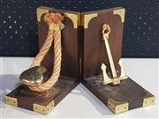 Sale 8976N - Lot 343 - Pair of Cleat and Anchor Form Bookends (h:155 x l:145 x w:90mm)