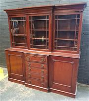 Sale 9048 - Lot 1008 - Small Late Georgian Mahogany Secretaire Bookcase, with three astragal glass doors, the centre section with small secretaire drawer &...