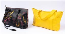 Sale 9092F - Lot 88 - A SHARIF STUDIO HANDBAG TOGETHER WITH A BRIGHT YELLOW TOTE; Internal pockets to both and zip to top.