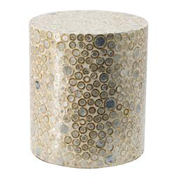 Sale 9140F - Lot 191 - Cylindrical shaped stool. Neutral finish and dot pattern.  Curved frame. Dimensions: W35 x D35 x H40 cm